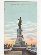 Port Said Statue de Ferd de Lesseps Egypt Vintage Postcard 132a