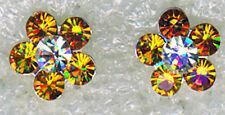 """925 Sterling Silver Crystal Stud Earrings  10mm (3/8"""") diameter amber orange hue"""