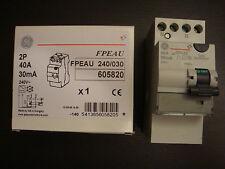 1 interrupteur differentiel 2 poles 40 amp 30 ma type:A GE neuf
