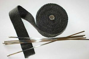 Black Manifold Downpipe Exhaust Fibre Heat Bandage Wrap 10m meter and Ties