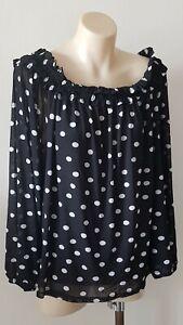 Sportsgirl Black Polka Dot Off The Shoulder Top Size: L