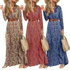 Women's Boho Floral Long Sleeve Maxi Dresses Ladies  V Neck Holiday Beach Dress
