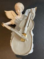 Angel Playing Cielo Figurine with Gold Lining, Mint Condition