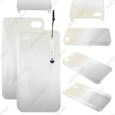 Housse Etui Coque Rigide Gouttelettes Blanc Apple iPhone 4S 4 + Mini Stylet