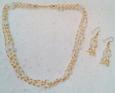 Faceted Quartz Necklace And Earring Set New 3 Strand Cultured Mini Pearls And