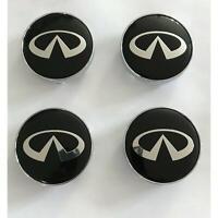 4x 60mm Infiniti noir argent jantes couvercle chapeaux enjoliveur roue capuchon