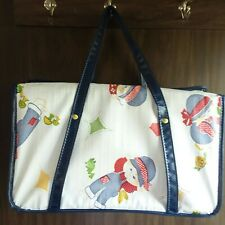Vtg Gerber 60's-70's Baby Diaper Bag Carry Bag Farmer Boy & Girl Design Hinged