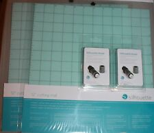 2 Silhouette CAMEO 12x12 Cutting Mats  2 Replacement Blades FREE SHIP