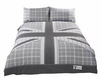 UNION JACK STRIPED CHECK GREY WHITE COTTON BLEND SINGLE DUVET COVER