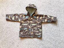 Boys HATLEY Brown Dinosaur Jacket Raincoat. Age 1.  Autumn. (one Popper Broken)