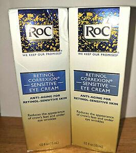 RoC Retinol Correxion Anti Aging Eye Cream Sensitive Skin 2 Pack Bundle New