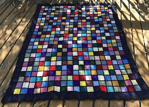 Vintage Multicolor Crochet Granny Square Roseanne Afghan Blanket 76x60