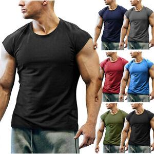Men Summer Plain T-Shirt Gym Sport Fitness Cap Sleeve Vest Tank Tops Singlets