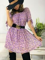 Designer Lilac Puff Pleated Short Floral Dress fits  Size L UK 14