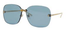 Authentic Gucci GG 0355S 003 Gold/Blue Square Oversized Women's Sunglasses