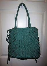 Melie Bianco Green Ruffled Vegan Faux Leather Tote Handbag Purse EUC