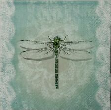 DRAGONFLY VINTAGE  2 individual paper napkins for decoupage LUNCH SIZE  3-ply