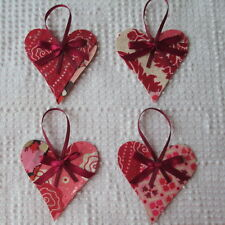 AB02 Heart Ornaments Upcycled from Modern Unfinished Quilt Project OOAK Holiday