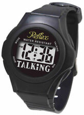 Reflex Water Resistant Digital English Talking Black Strap Alarm Watch TALK01
