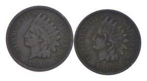 VF/XF 1908 & 1906 Indian Head Cent Collection Lot - STRONG Liberty *886
