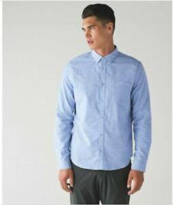 NEW LULULEMON Men's Commission Long Sleeve Collar Shirt Size Medium Harbor Blue