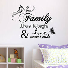 Butterfly Family Where Life Wall Stickers Decor Mural Vinyl Home Room Decal Sale