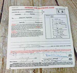 vtg 1951 delinquent tax reciept ephemera paper