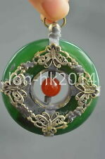 Collection Handwork Miao Silver Carve Butterfly Inlay Jade Lucky Usable Pendant
