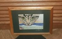 Original Colored Pencil Drawing Cat & Mouse Framed Art Signed by Artist S. Hayes