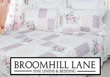 New! Gorgeous SUPER KING Floral Pink White Patchwork Quilted Bedspread Set Throw