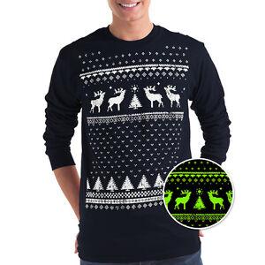 Mens Glow in the Dark Christmas Reindeer Tshirt -alternative to Christmas Jumper