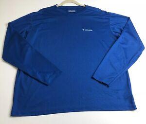 Columbia Omni-Wick Men's Long Sleeve Activewear Shirt XL Blue Crewneck Casual