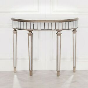 Champagne Silver Half Moon Shape Hall Table Hardwood Mirrored Glass Venetian
