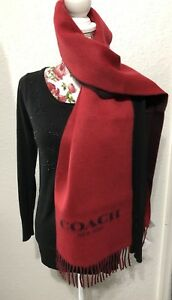 NWT Authentic COACH 95% Wool 5% Cashmere Red & Charcoal Reversible Oblong Scarf