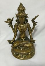 Antique/Vtg gilt bronze sitting on lotus Nepalese Buddha for collection H15cm
