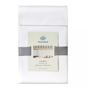 Cloud Island White Crib Skirt Pleated - Nursery Linens Bedding Crib Skirt