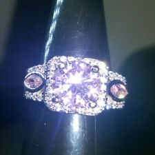 STUNNING ROUND CUT PINK+WHITE CREATED WHITE SAPPHIRE RING BAND SIZE S