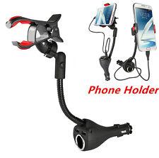 3in1 Car Smartphone Mount 360° Rotable Holder 2 USB Charger Port+Cigarette Light