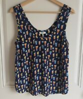 Joie Womens Navy Blue Cocktail Silk Sleeveless Lotye Blouse Top Shirt Size Small
