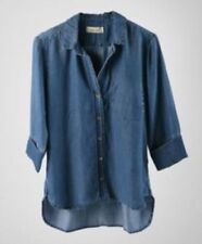 Bella Dahl denim chambray shirt tail jeans button down shirt size Large