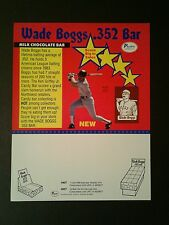 1990 Wade Boggs .352 Pacific Candy Bar Red Sox Baseball Memorabilia Promo Sheet