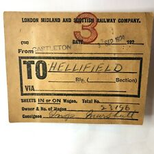 More details for 1929 lms freight label castleton to hellifield ings marshall
