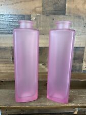 Set of 2 Ikea Frosted Pink Light Pink Glass Bottle/Vase 8""