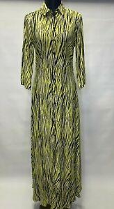 Sisley Women Shirt Style Animal Print Long Maxi Dress Size 8, 10, 12, 14