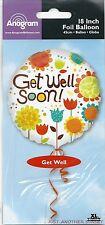 "Get Well Soon 18"" Mylar Foil Balloon Funky Retro Patchwork Flowers Orange Brown"