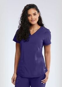 """Barco Motion Style MT001 V-Neck Detailed Scrub Top in """"Grape"""" Size XL"""