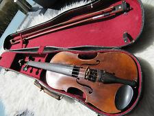 Schöne alte 4/4 Violine mit Bogen und Koffer rissfrei Innenzettel,spielbar.