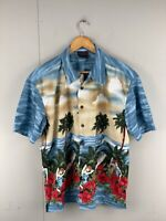 Lowes Men's Short Sleeve Button Up Hawaiian Shirt - Size Large  Blue Red
