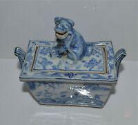 Antique Japanese Blue White Incense Burner Censer Shishi Knop Arita? Koro
