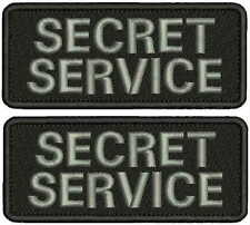 Secret Service EMBROIDERY Patches 2x5hook on back  gray letters